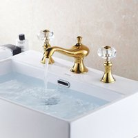 bathroom faucet knobs - PVD GOLD WIDESPREAD LAVATORY BATHROOM SINK FAUCET crystal handles knobs faucet hot sale good quality HJ K