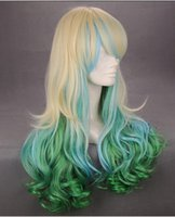 green synthetic - Cosplay Wig inch Blonde Green Blue Ombre Colors Lolita Body Wave Synthetic Hair Wigs Party Prom Wig