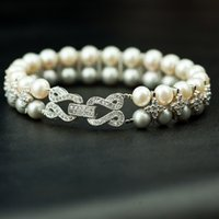 Wholesale Ultra Luster Pearl Bracelet Double White Cultured With Sterling Silver w Gift Box By Freeshipping Drop Shipping is Available