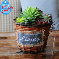 Wholesale Olvy pastoral linen wicker pots creative waterproof pots for Succulent plants retro iron storage basket