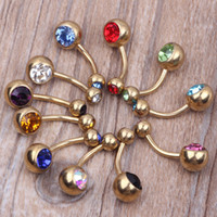 bell press - Navel ring B12 Mix Colors g Banana Navel Rings Body Piercing Double Gem Press Fit Navel Ring Belly Ring
