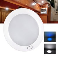 achat en gros de rv lumière du dôme-5 pouces 12V Dimmable LED Cabin Dome Light Blue Mood Ambiance Light Ultra Slim LED Lamp Caravan / Motorhome / RV Lampe Toit / Dôme léger
