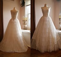 Wholesale Custom Made Vintage Wedding Dress s Sleeveless Lace Wedding Gown With Pleated Accordion Tulle Full Skirt Ball gown Prom Dresses
