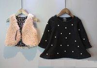 Wholesale Girls suit New Autumn and Winter Korean girls pearl velvet thicken dress vest sets Children clothes