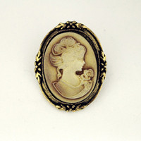 Wholesale Vintage Queen Lady Cameo Black Enamel Bronze Brooches Pins