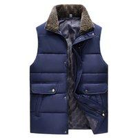 berber fleece vest - Fall men winter berber fleece stand collar cotton vest male business casual vest