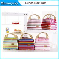 Wholesale Cheap Thermal Insulated Portable Cool Canvas Stripe Lunch Totes Bag Carry Case Picnic by DHL