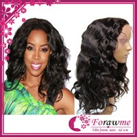 Wholesale Full lace wigs chinese Remy body wave hair human hair wigs natural black b