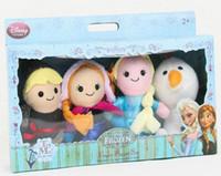 Wholesale 4pcs set New in box Frozen Finger Puppet Set of Four Stuffed Toys Finger Dolls Baby Toys Olaf Kristoff Anna Elsa Plush doll FB09