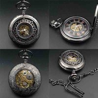Wholesale mechanical fob watch Crystals Hand Wind up Movement Pocket Watch With Chain Casual half hunter Roman numerals
