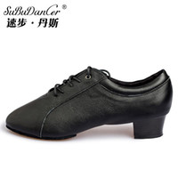 ballroom dance steps - Speed Step Dance Adult Latin dance shoes for men genuine leather soft bottom flat with the bottom two Latin shoes Square shoes