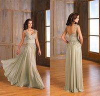 Wholesale 2015 Elegant Chiffon V Neck Cap Sleeves Lace Jasmine Mother of the Bride Dresses Mother Formal Evening Prom Dresses Formal Dresses EA0126