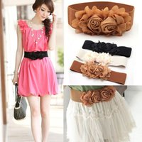 Wholesale Fashion Lady Chiffon Double Rose Flower Buckle Elastic Waist Belt Lady Waistband Drop Shipping Colors WF Belt