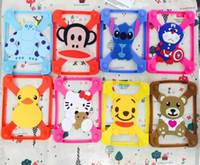 Wholesale Silicone D Cartoon Stitch kitty Universal Phone Frame Bumper For iPad air Samsung Tab all tablet