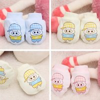 Wholesale Cute Cartoon Newborn Infant Baby Glove Cotton Anti Scratching Gloves For Month Babies Baby Girl Boy Mittens HO674325