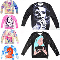 Wholesale 2014 hot women men marilyn monroe skull lady gaga Funny Pullovers d Hoodies sweatshirt cartoon princess alice frida sweaters