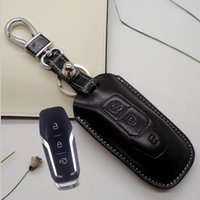 accessories ford fusion - genuine leather Key Cover holder For ford new Mondeo keyless remote smart key case wallet keychain rings accessories