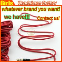 Wholesale 3 mm Replacement Red Cables for Beats Studio Headphones Regular Normal Extension Audio AUX Male to Male Normal for SOLO MIXR Headsets