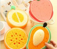 Wholesale Lovely fruit strong decontamination sponge wipe microfiber Clean cloth cotton washing dishes Kitchen Tool scouring pad
