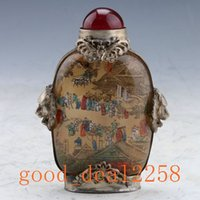 armor hand - Glass Hand painted Armor Silver Snuff Bottle w Qingming Festival Riverside Scene