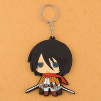 Wholesale Japanese Anime Shingeki no Kyojin Attack On Titan Mikasa Silicone Key Ring Chain dandys