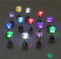 Wholesale Novelty LED Flashing Light Stainless Steel Rhinestone Ear Stud Earrings Fashion Jewelry rave toys gift Colors LED Earrings