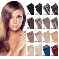 Wholesale 16 quot quot quot quot quot Full Head Remy Clip in Human hair extension Black Brown Blonde optional g g g g set Free DHL Fatory