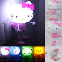 Wholesale Cute D Hello Kitty Rilakkuma Relax Bear Doraemon LED Light Sensor Control Homg Decoration Night Lamp Light Bedroom Lights