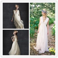 Cheap Grecian Backless Beach Wedding Dresses 2015 Sexy V Neck Boho A Line Vintage Greek Goddess Bridal Gowns Summer Modest Country Style Cheap