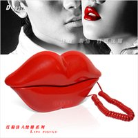 Wholesale Piece Pretty in Pink Red Sexy Lips Telephone Hot Kiss Design Wired Telephon