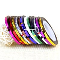 Wholesale 12PCS mm mm Metal Stripe line Nail Stickers Mix Color Nail Rolls Striping Tape Line Nail Decoration