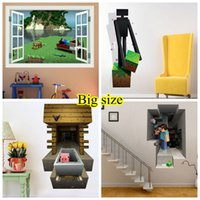 3d movies - Big Size Minecraft D Wall Stickers Creeper Decorative Steve Dig Wall Decal Cartoon Wallpaper Kids Party Decoration Festival Wall Art Poster