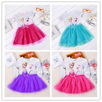 Wholesale Frozen Girls Dresses Short Sleeve Lace cartoonTutu girls Skirt Princess Anna Elsa party dresses girls summer short dress girls clothing