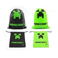Wholesale In Stock Party Gift Minecraft Drawstring Bag Creeper Storage Bags JJ Bag For Kids Toy Environmental Bags Stuff Sacks Factory Price