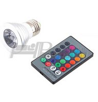 Wholesale 1pcs V E27 W Color RGB LED Light Spotlight Bulb Lamp with Remote Controller
