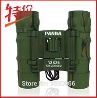 Wholesale 12x25mm Panda Pocket Binoculars Camouflage Floding Telescope for Outdoor Sports Travel