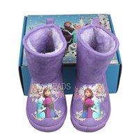 Wholesale Purple Pink Frozen Warm Boots Frozen Elsa Snow Boots for Baby Kids Children s Shoes for Christmas Animal Fur Boots Kids Shoes Kids Frozen