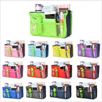 Wholesale 200pcs CCA907 Colors Dual Bag In Bag Inner Handbag Tote Insert Purse Travel Storage Organizer Pouch