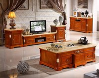 Wholesale TV ark of tea table marble composite solid wood European high grade fashion contracted sitting room of the lacquer that bake shunde furnitur