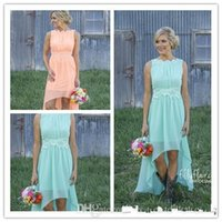 venda por atacado short chiffon party dress-2015 Modest Curto Bridesmaid Vestidos Lace Crew Pescoço Chiffon Alta Baixa Ocidental Country Wedding Party Vestidos Verão Mais Size Formal Wear