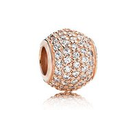 925 sterling silver beads - 925 Sterling Silver Rose Gold Plated Pave Lights Bead With Clear Cz Fits European Pandora Style Jewelry Charm Bracelets Necklaces