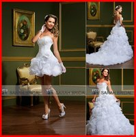 Cheap 2015 White Ivory Organza Ball Gown Wedding Dresses Two Pieces 2 in 1 with Detachable Bubble Train Corset Saudi Arabia Arabic Luxury Gowns