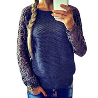 Wholesale S5Q Womens Pullover Sweater Casual Patchwork Lace Sleeve Knitted Long Sleeve Hollow Out AAAEHX