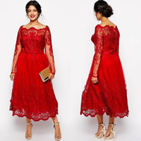 Halter plus size evening dresses - Plus Size Red Prom Dresses Long Sleeves Lace Applique Evening Dress Tea Length New Arrival Cheap Special Occasion Party Gowns