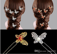 Wholesale Charming wedding hair piece butterfly bridal pearl rhinestone hair pin hair clip head piece party