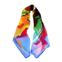 cotton square scarves - 2014 New Fashion Blue Orange Colorful Printed Silk Square Scarves For Women