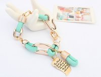 Wholesale new design Retro style bracelet CBB and PU rope splicing bracelet with South Korea fashion bracelets