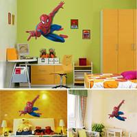 Wholesale 15pcs Cartoon Spiderman Wall Paper Kids Room Wall Stickers Environmental PVC Home Decoration qt029