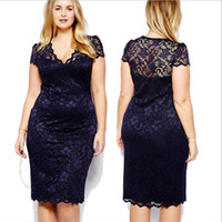 clothes for fat women - 2014 plus size clothing xl sexy lace medium long body con short sleeve summer dress party dresses for fat women saia renda