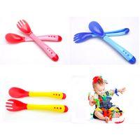 Wholesale 3sets Spoon For Children Food Safe Healthy Baby Feeding Utensils Temperature Sensing BPA Free Nursing Fork Feeder For Kids